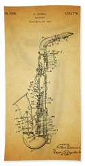 1936 Saxophone Patent Beach Towel by Dan Sproul