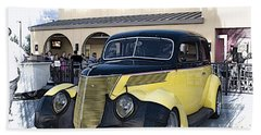 1937 Ford Deluxe Sedan_a2 Beach Towel