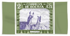 1939 Bolivia Llamas Postage Stamp Beach Towel