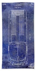 1939 Fire Truck Patent Blue Beach Towel