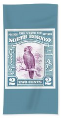 1939 North Borneo Palm Cockatoo Postage Stamp Beach Towel