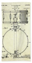 1939 Slingerland Snare Drum Patent S1 Beach Towel by Gary Bodnar