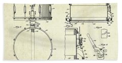 1939 Slingerland Snare Drum Patent Sheets Beach Towel