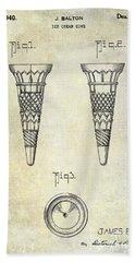 1940 Ice Cream Cone Patent Beach Towel