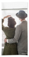 1940s Couple At The Window Beach Towel