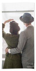 1940s Couple At The Window Beach Sheet by Lee Avison