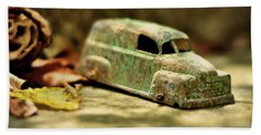 Beach Sheet featuring the photograph 1940s Green Chevy Sedan Style Toy Car by Rebecca Sherman