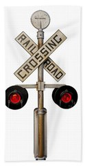 1940's Rail Road Crossing Signal Knockout Beach Towel