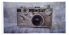 1940's Vintage Argus Camera With Border Beach Towel by Tony Grider