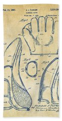 1941 Baseball Glove Patent - Vintage Beach Towel by Nikki Marie Smith