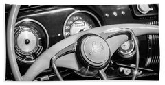 Beach Towel featuring the photograph 1941 Lincoln Continental Cabriolet V12 Steering Wheel -226bw by Jill Reger