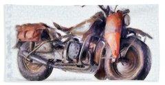 1942 Harley Davidson, Military, 750cc Beach Towel