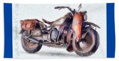 1942 Harley Davidson, Military, 750cc Beach Towel by Caito Junqueira