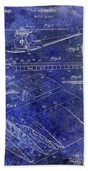 1949 Helicopter Patent Blue Beach Towel by Jon Neidert