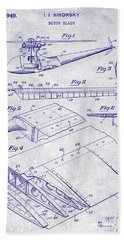 1949 Helicopter Patent Blueprint Beach Towel by Jon Neidert