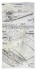 1949 Helicopter Patent Beach Towel by Jon Neidert