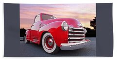 1950 Chevy Pick Up At Sunset Beach Towel