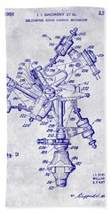 1950 Helicopter Patent Blueprint Beach Towel by Jon Neidert