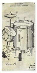 1951 Drum Kit Patent  Beach Towel