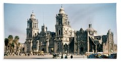 Beach Towel featuring the photograph 1951 Metropolitan Cathedral Mexico City by Marilyn Hunt