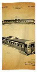 1951 Railway Car Patent Beach Towel by Dan Sproul