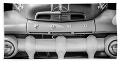 1952 Ford F-1 Truck Grille -0242bw Beach Towel