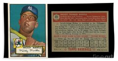 1952 Topps Mickey Mantle Rookie Card Beach Towel by Art Kurgin