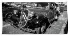 1953 Citroen Traction Avant Bw Beach Sheet by Rich Franco