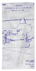 1953 Helicopter Patent Blueprint Beach Towel by Jon Neidert