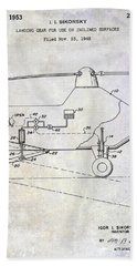 1953 Helicopter Patent Beach Towel by Jon Neidert