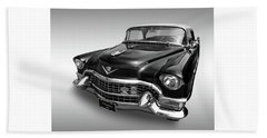 Beach Towel featuring the photograph 1955 Cadillac Black And White by Gill Billington