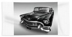 1955 Cadillac Black And White Beach Sheet by Gill Billington