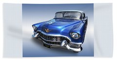 Beach Towel featuring the photograph 1955 Cadillac Blue by Gill Billington