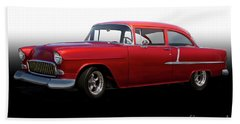 1955 Chevrolet 'candy Apple' Coupe Beach Towel