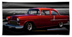 1955 Chevrolet 'candy Apple' Coupe II Beach Towel