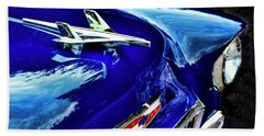 1955 Chevy Bel Air Hard Top - Blue Beach Towel by Peggy Collins