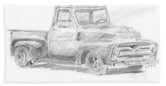 1955 Ford Pickup Sketch Beach Towel