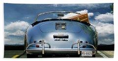 1955 Porsche, 356a, 1600 Speedster, Aquamarin Blue Metallic, Louis Vuitton Classic Steamer Trunk Beach Towel