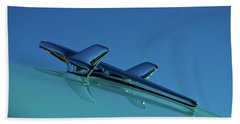 Beach Towel featuring the photograph 1956 Chevy Belair Hood Ornament by Jani Freimann