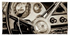 Beach Towel featuring the photograph 1956 Ford Victoria Steering Wheel -0461s by Jill Reger
