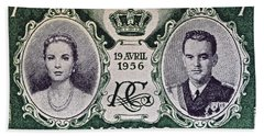 1956 Princess Grace Of Monaco Stamp II Beach Towel