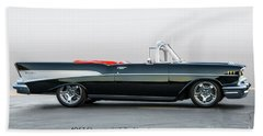 1957 Chevrolet Bel Air Convertible 'with Script' Beach Towel