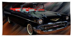 1957 Chevy Bel Air Convertible Digital Oil Beach Sheet