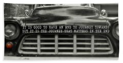 1957 Chevy Quote Beach Towel