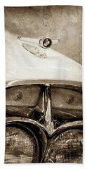 Beach Towel featuring the photograph 1957 Mercury Turnpike Cruiser Emblem -0749s by Jill Reger