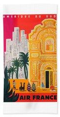 1958 Air France Amerique Du Sud Travel Poster Beach Towel