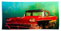1958 Ford Ranchero Watercolour Beach Towel