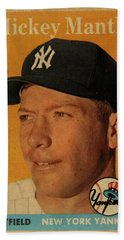 1958 Topps Baseball Mickey Mantle Card Vintage Poster Beach Towel by Design Turnpike