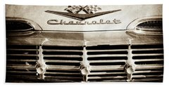 Beach Towel featuring the photograph 1959 Chevrolet Impala Grille Emblem -1014s by Jill Reger