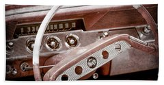Beach Sheet featuring the photograph 1961 Chevrolet Impala Ss Steering Wheel Emblem -1156ac by Jill Reger